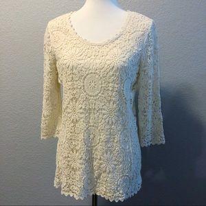 BOHO Ivory Crochet Lace Top Lined